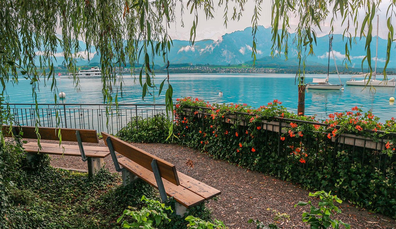 road trip en suisse bancs lac fleurs